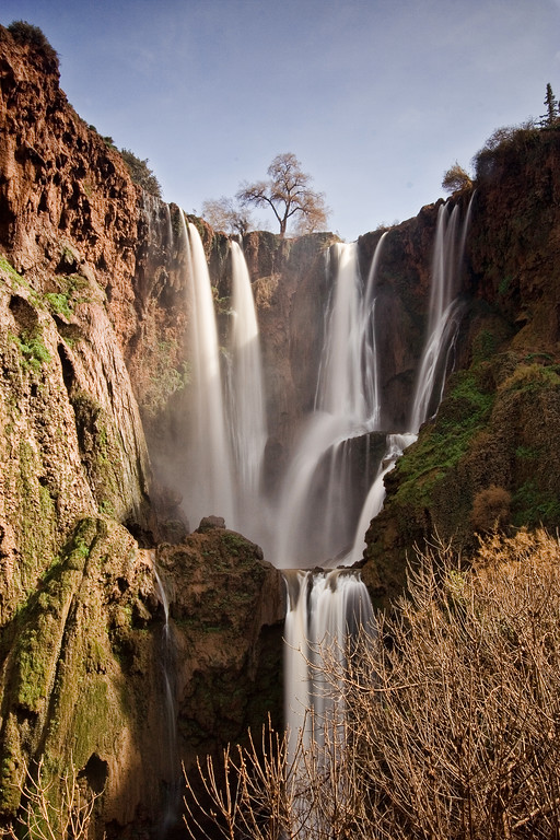 Ouzoud waterfalls with many cascades in Morocco.