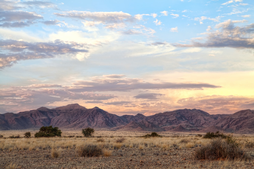 Beautiful sunset behind mountains in Namibia