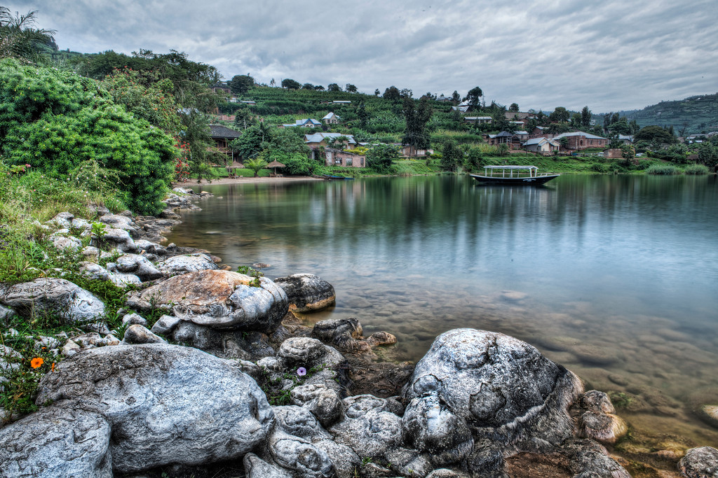 Shoreline of Lake Kivu occupied by the Padis Malahide Hotel in Rwanda