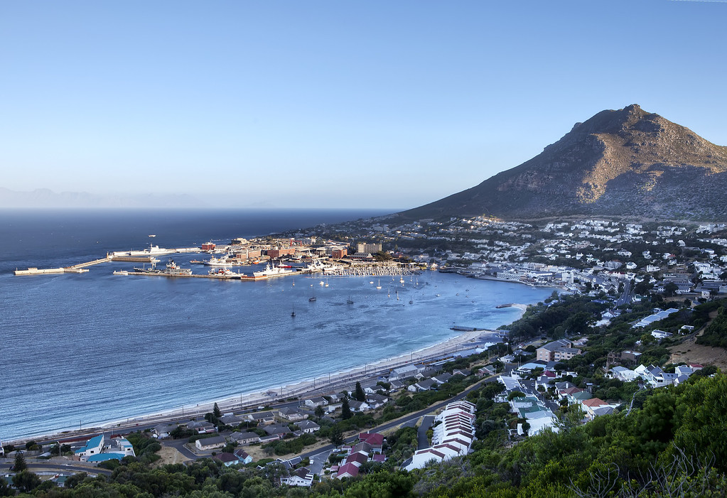 Simonstown, South Africa seen from above just before sunset