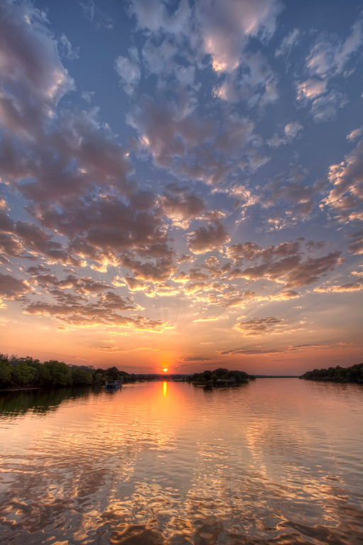 Magnificent sunset over the Upper Zambezi in Zambia