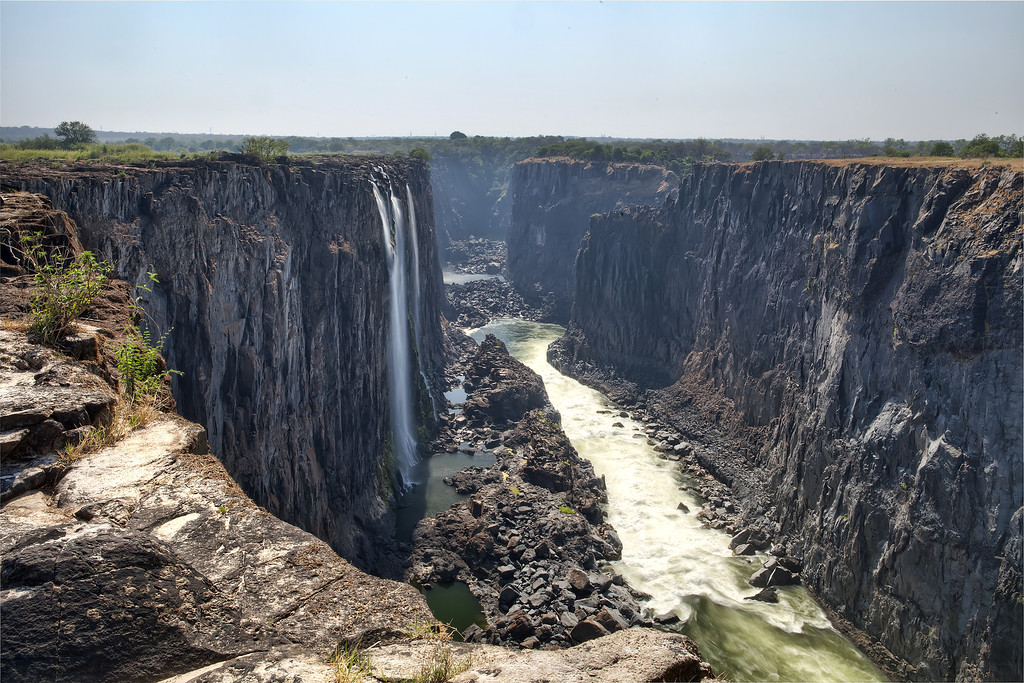 View into the Batoka Gorge from the cliffs, site of the Victoria Falls, during dry season.