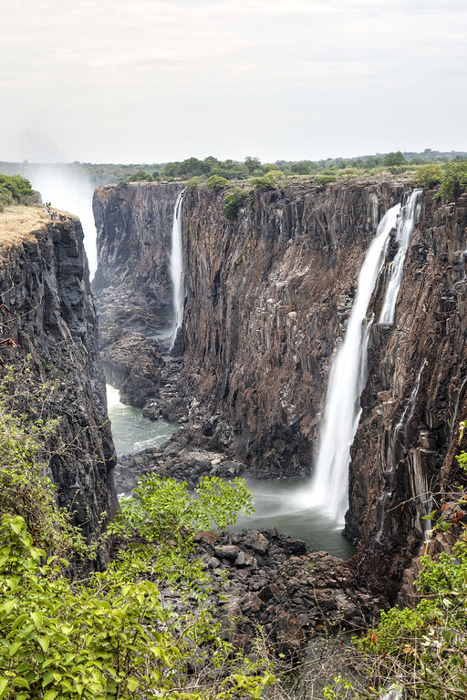The Victoria Falls waterfall in Zambia in dry season