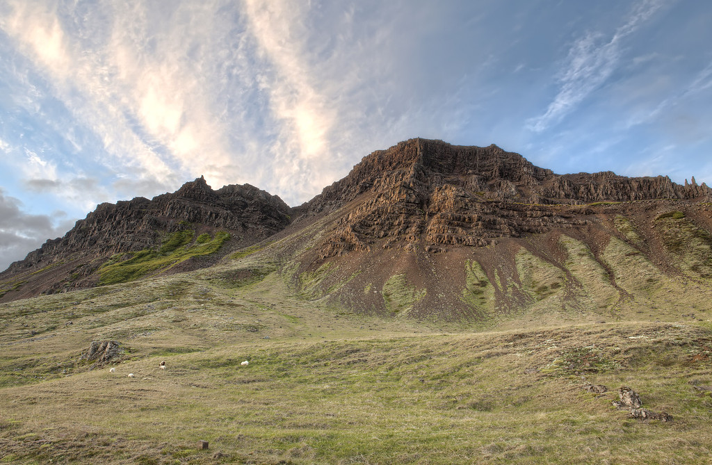 Golden cliffs with majestic sky with green field dotted with sheep in Westfjords, Iceland