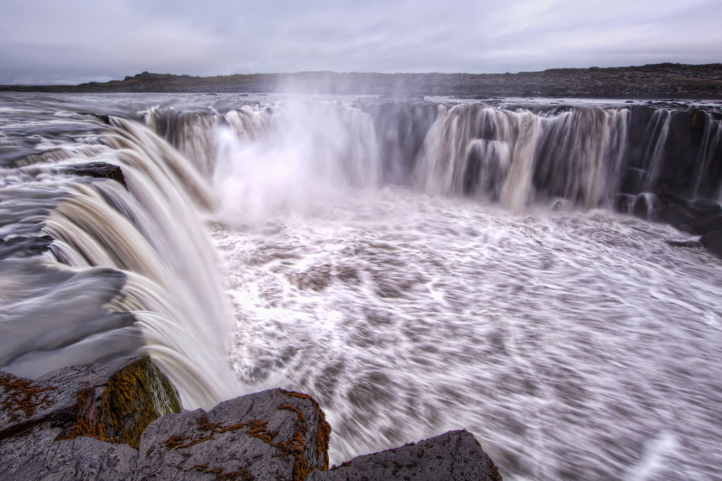 Selfoss waterfall in Iceland up close