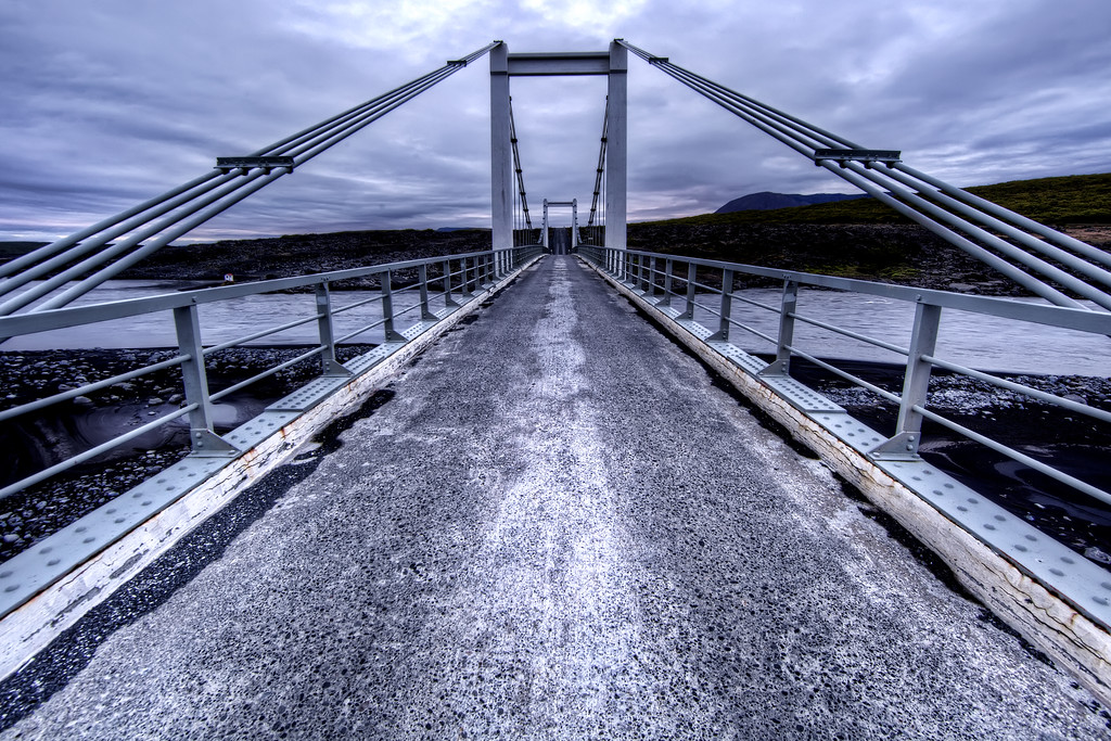 The view as you drive onto a suspension bridge in Iceland
