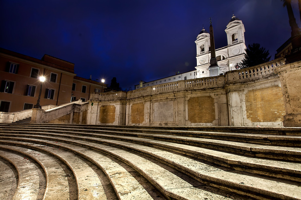 the spanish steps in Rome early morning abstract
