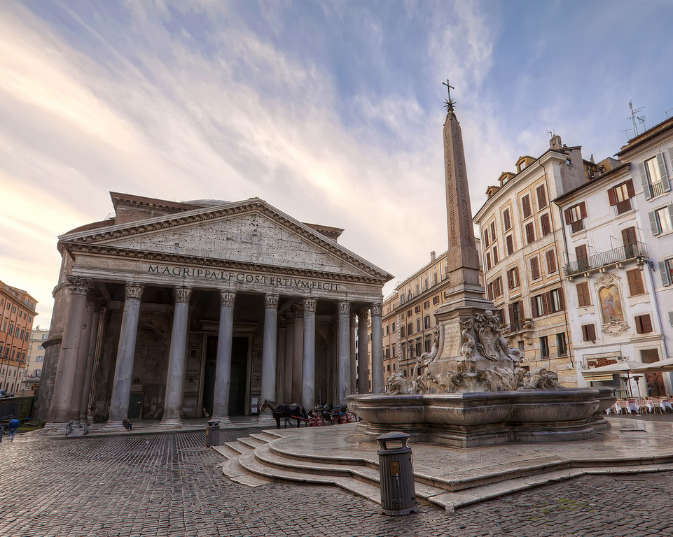 the pantheon and obelisk in the piazza del Rotundo, Rome