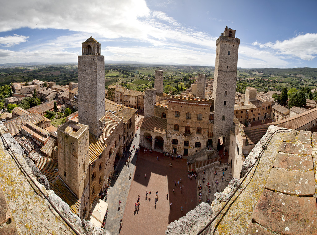 The towers of San Gimignano viewed from one of the towers overlooking the main square