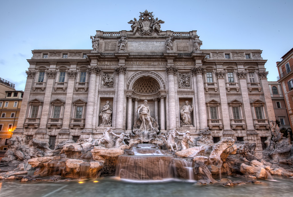 trevi fountain rome in hdr early morning no tourists no people long exposure