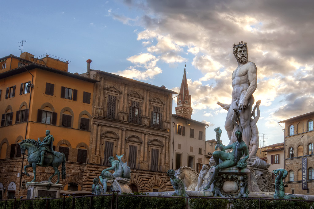 Fountain of Neptune with man and nymph in Florence Italy.