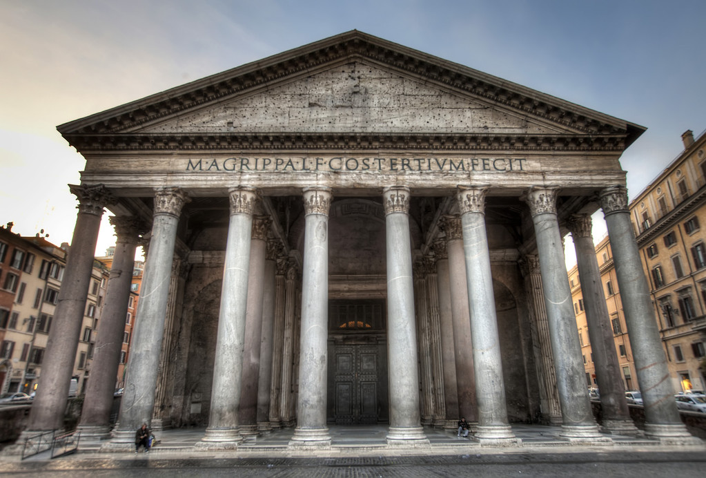 Pantheon rome front on soft focus