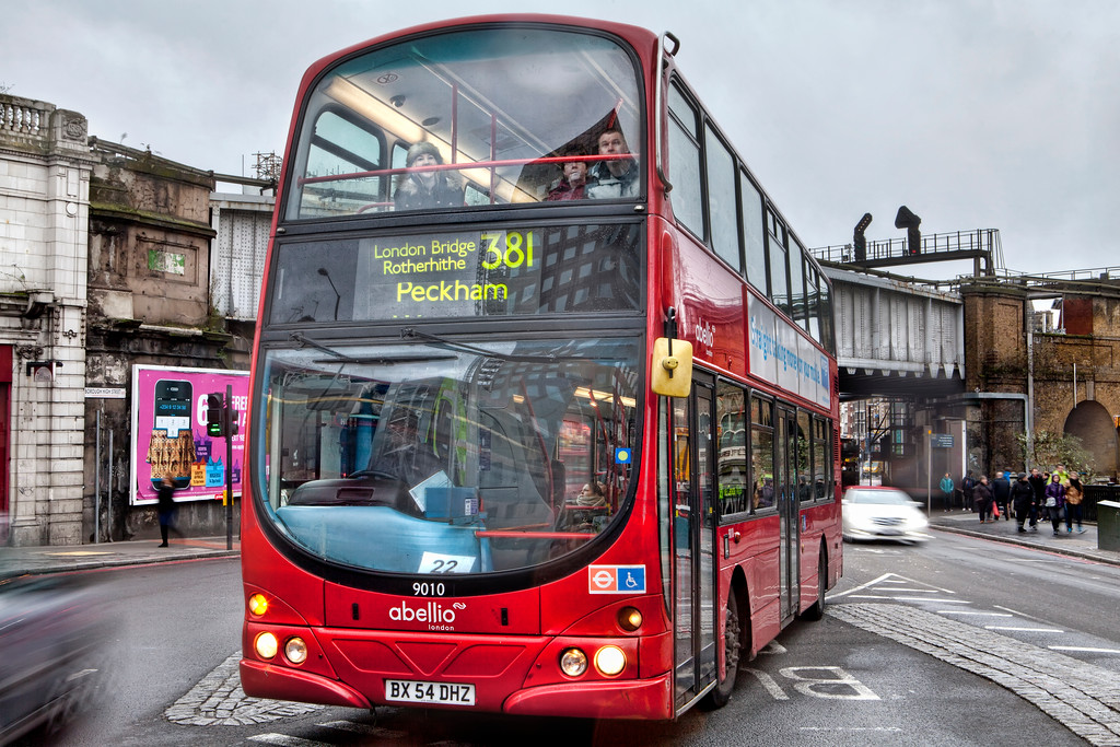 A big red double decker bus to Peckham in London near London Bridge station in Borough