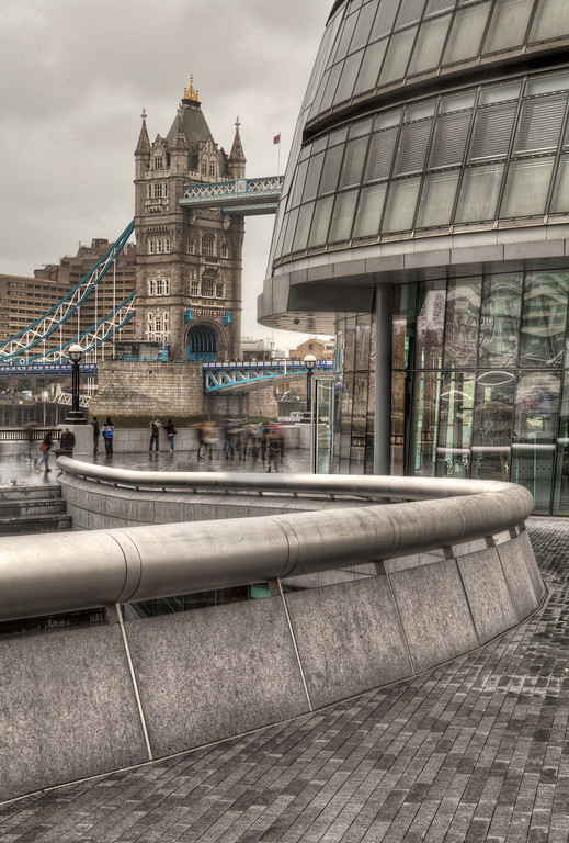 A view of London City Hall with Tower Bridge in the background
