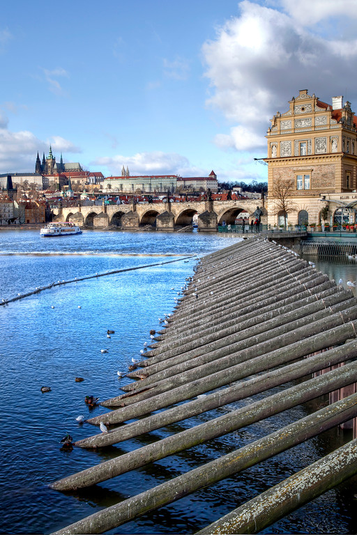 Breakwater on the Vitava river in front of the Charles Bridge in Prague