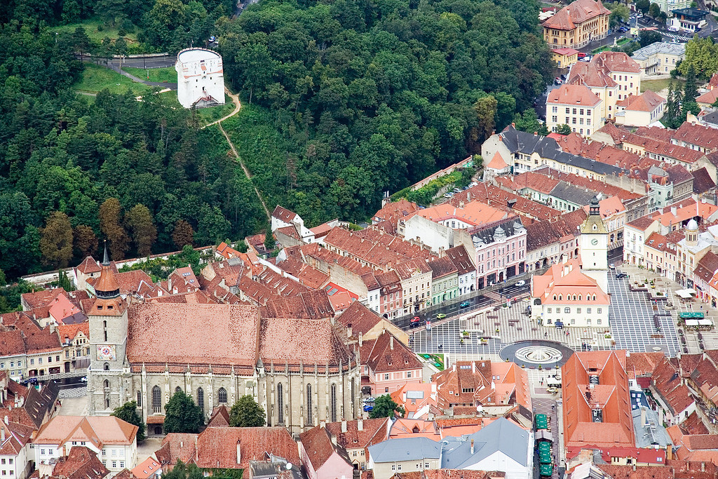 brasov as viewed from the sign on the hill white tower town hall cathedral