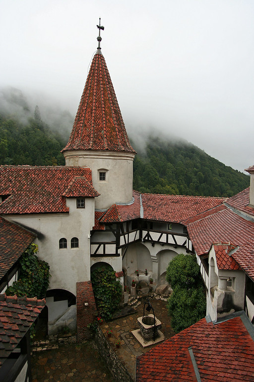 bran castle, supposed home  of dracula, central courtyard from above in Romania