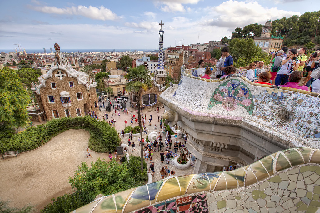 park guell crowded with people tourists