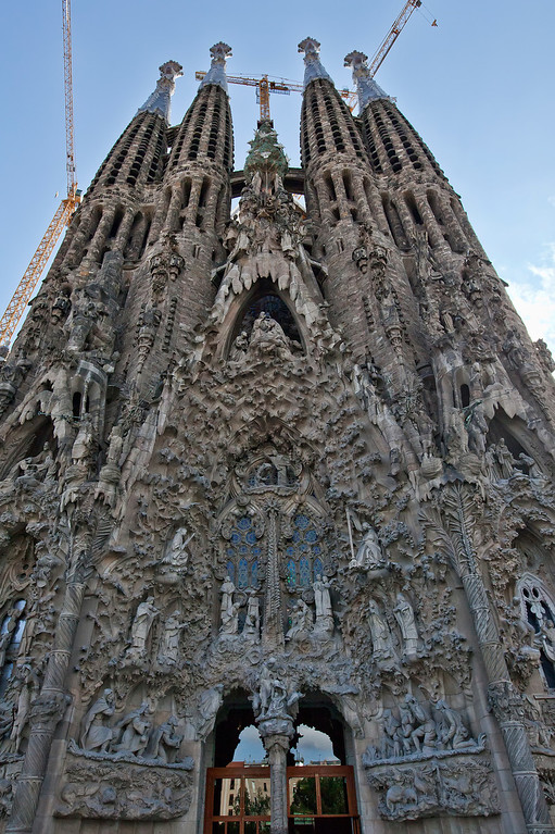 la sagrada familia oldest facade up close, Barcelona