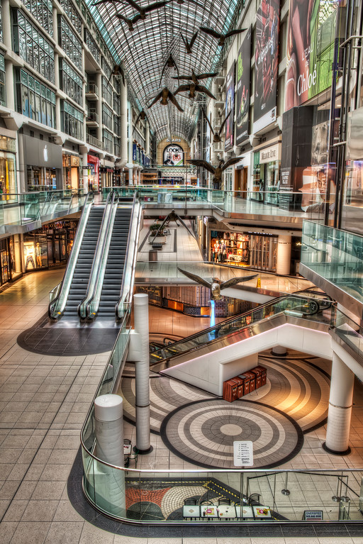 Eaton Center in Toronto before the shoppers arrive where it looks ultra modern.
