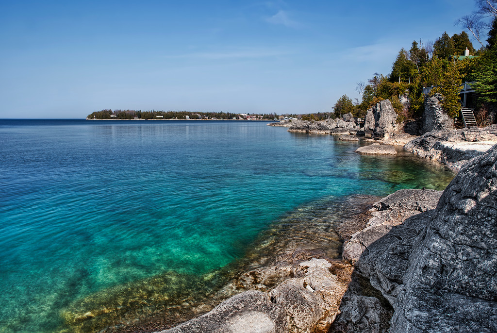 The waters of Lake Huron, just off of Tobermory, at the very end of the Bruce Peninsula, are turquoise blue and clear.