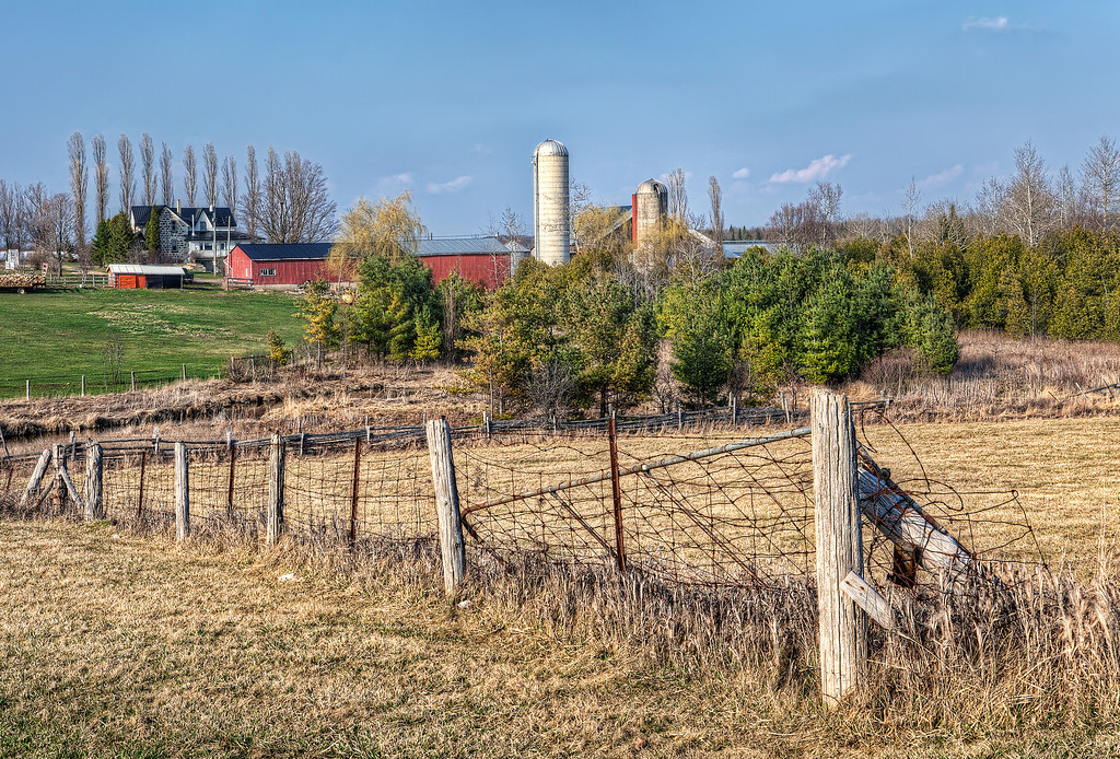 Grey County, Ontario farm with silo and red barns and wire and post fence.