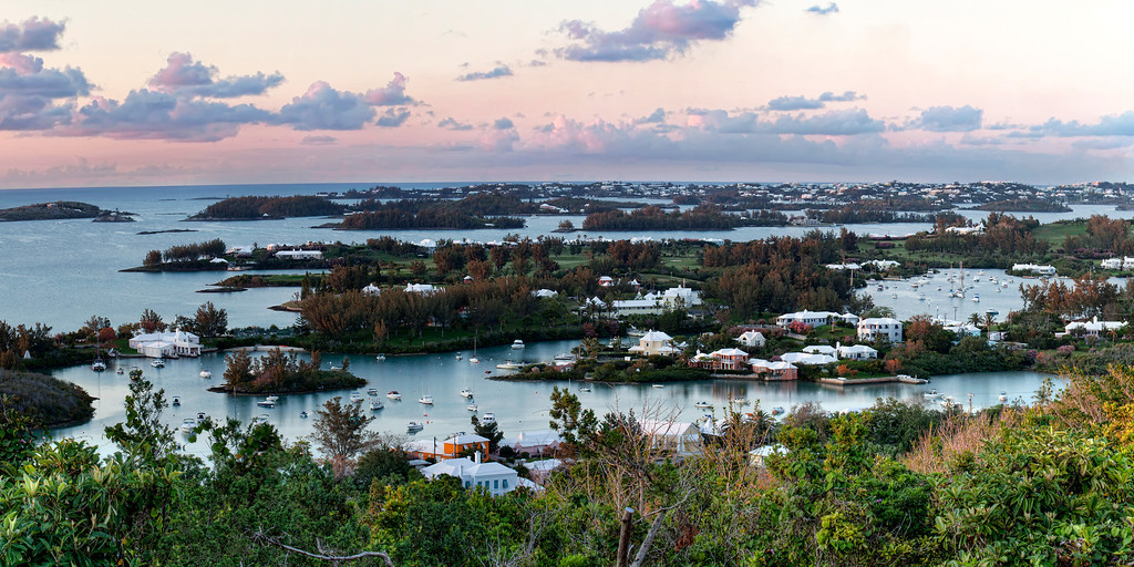 Panoramic view of the Great Sound from Lighthouse Hill in Bermuda where Queen Elizabeth stopped to admire the view.