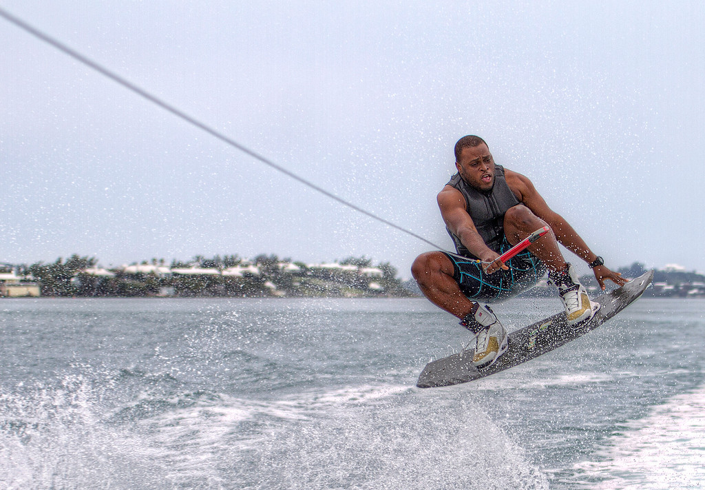 Wakeboarder in the air in Bermuda