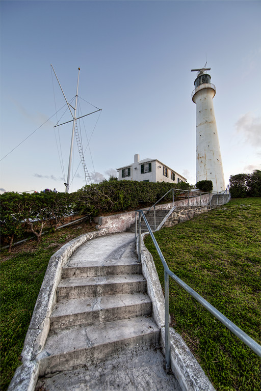Gibbs Hill Lighthouse, Bermuda, in front of a clear blue sky