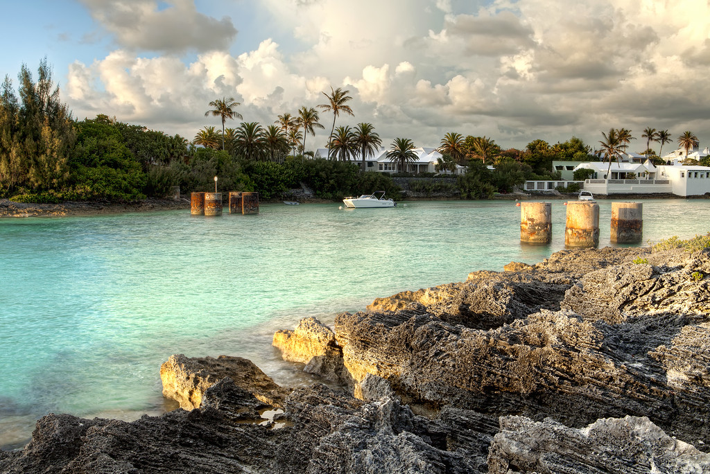 remains of the old railway bridge at flatt's inlet bermuda