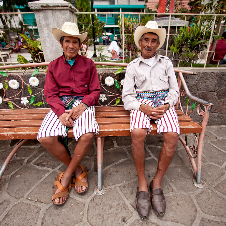 Tz'utujil men in traditional dress, Lake Atitlan, Guatemala
