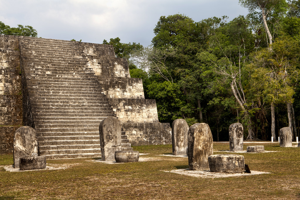 Mayan temple and stele at Tikal, Guatemala HDR