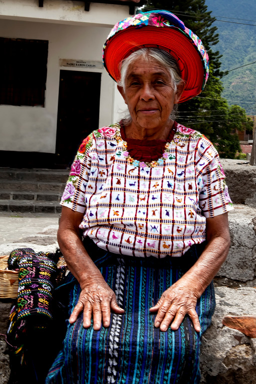 Tz'utujil woman ribbon hat lake atitlan guatemala traditional dress