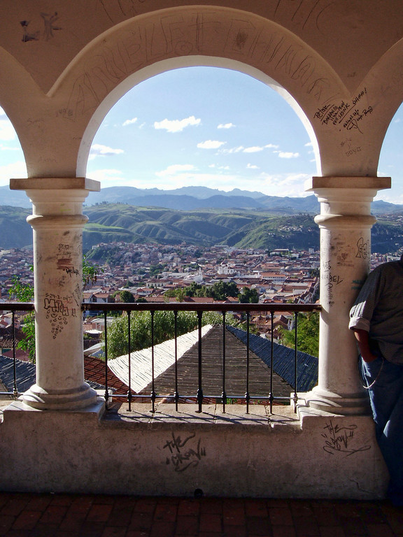view from an acrhway overlooking Sucre, Bolivia