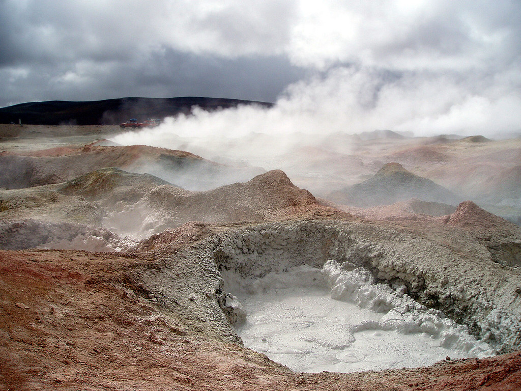 mud pool at the thermal vents in the ayuni desert, Bolivia.