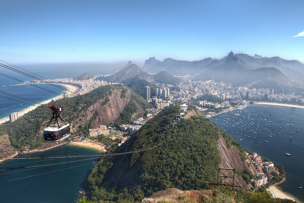 view from rio's sugarloaf mountain including botafogo and copacabana beaches, christ the redeemer, and a cable car