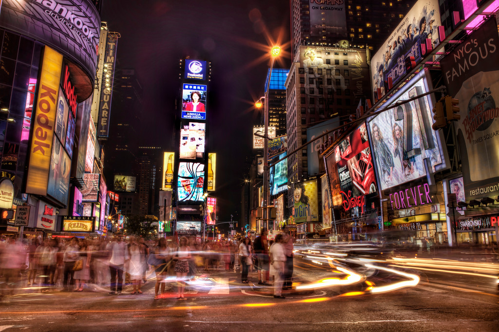 Nighttime hustle and bustle in Time's Square, New York