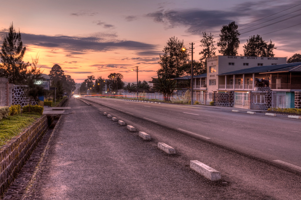 Main road in Musanze, Rwanda at sunrise.