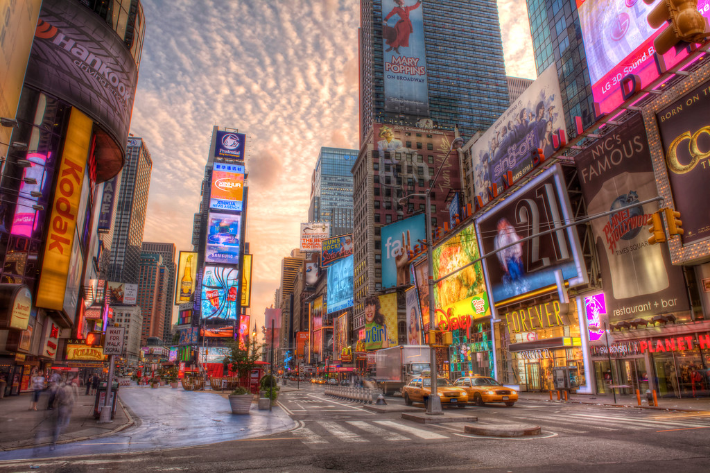 Times Square, New York in the early morning without the crowds.