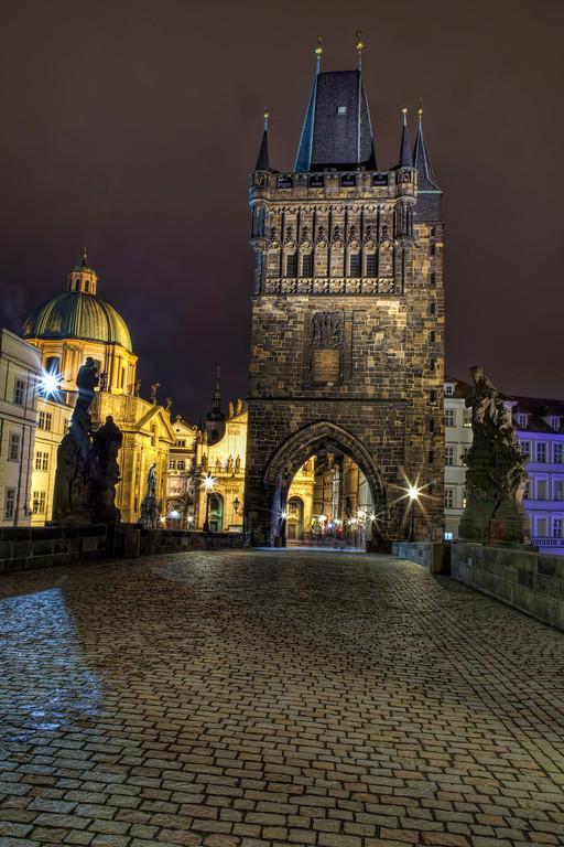 The east end of Charles Bridge, Prague taken at night.