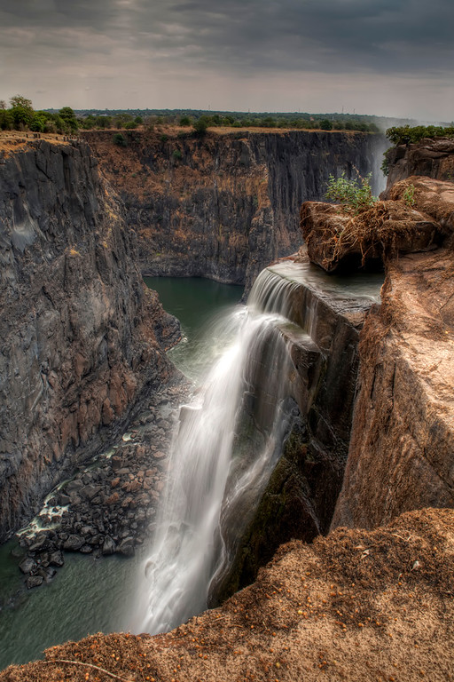Victoria Falls at low water showing Batoka Gorge in Zambia.