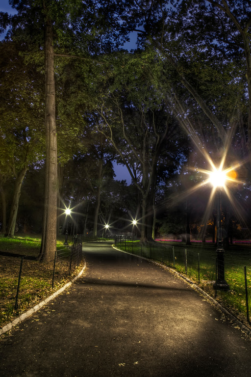 Pathway in Central Park, New York City, after dark with the street lights reflecting through the green trees.